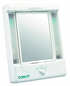 Conair Double-Sided Lighted Makeup Mirror with 4 Light Settings, 1x/5x Magnification
