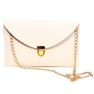 HDE Women's Envelope Clutch Purse Handbag (Cream)