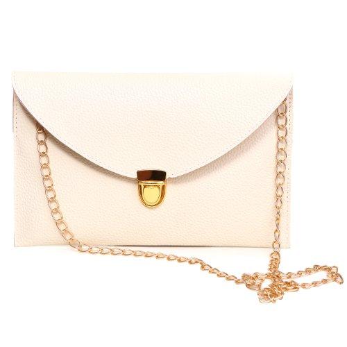 HDE Women's Envelope Clutch Purse Handbag (Cream) (Cream Clutch compare prices)