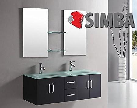 Mobile bagno ICE arredo bagno arredobagno 150 cm nero laccato mobile + lavandini + 2 specchi + 2 miscelatori completo moderno IL PIU VENDUTO ...