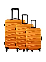 ZIFEL Set de 3 trolleys rígidos Naranja