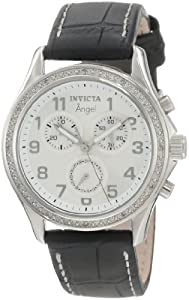 Invicta Women's 0577 Angel Collection Chronograph Diamond-Accented Black Leather Watch