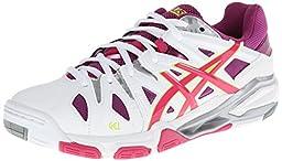 ASICS Women\'s Gel Sensei 5 Volley Ball Shoe,White/Magenta/Silver,9.5 M US