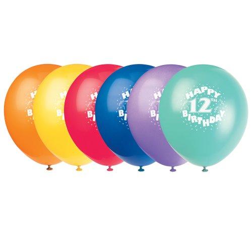 "12"" Latex Happy 12th Birthday Balloons, 6ct"
