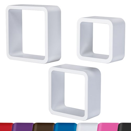 Miadomodo 3er Set Bücherregal Lounge Cube Regal Design Retro 70er Hängeregal in verschiedenen Farben