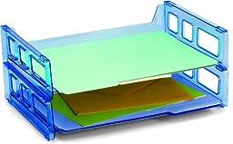 Officemate OIC Blue Glacier Side Load Letter Tray, Transparent Blue, 2/PK (23228)
