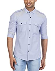 Zovi Men Cotton Slim Fit Blue And White Striped Casual Shirt With Epaulets  Full Sleeves