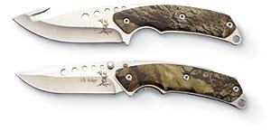 Elk Ridge ER-054 Combo Knife, Set of 2, Folder & Fixed Blade