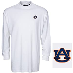 NCAA Auburn Tigers Mens Carlow Mock Turtleneck, White, XX-Large by Oxford