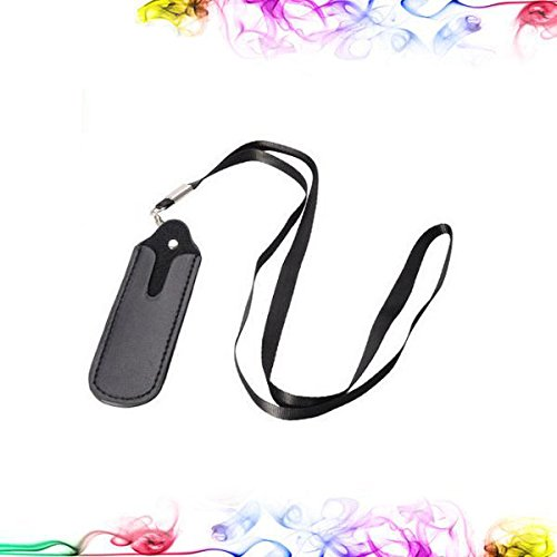 Faux Leather Pouch case Necklace LANYARD FOR Ecig EGO (Black)