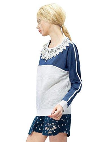 Elf Sack Womens Autumn Sweater Bowknot Denim Medium Size Blue