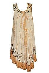 Indiatrendzs Women's Dress Embroidered Sleeveless Flowy Brown Dresses