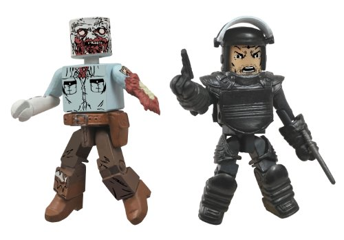 Diamond Select Toys Walking Dead Minimates Series 3 Riot Gear Rick and Guard Zombie Action Figure - 1