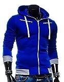 (ペプ) PEPU メンズ カジュアル フリース ジップ パーカー フード付き 長袖 ワン ポイント カラー (L, ブルー)