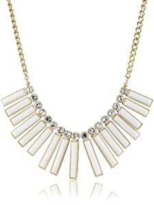"""Kenneth Cole New York """"Modern Blanc"""" White Resin Rectangle Bars Statement Necklace"""