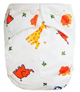 """Kawaii Baby Good Night Heavy Wetter One Size Pocket Cloth Diaper with 2 Large Microfiber Inserts """" White Animal """""""