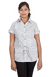 Juee Women's Printed Half Sleeve Shirt (JU103SY3HFWHT) (Medium)
