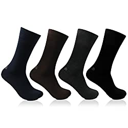 Bonjour Odour free plain Socks for Men with Bonjour logo Pack of 4 Pairs_BRO201A-PO4