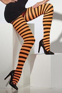 Smiffy's Adult Tights Striped - Orange/Black