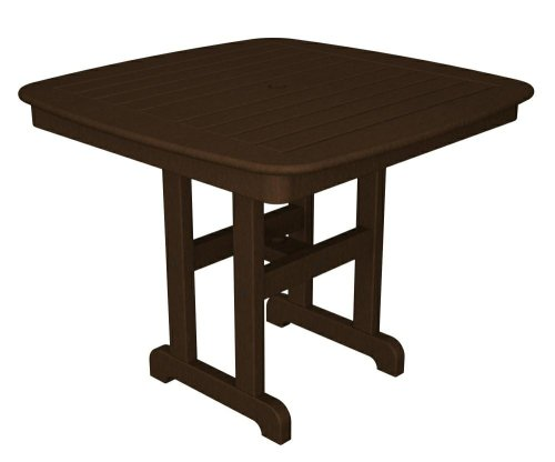POLYWOOD Outdoor Furniture Nautical 37 Inch Dining Table, Mahogany-Recycled Plastic Materials photo