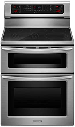 Kitchenaid KERS507XSS 30-Inch, 5-Element Freestanding Double Oven Range with Even-Heat Convection