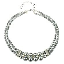 buy Btime Christmas Lady Two Layer Beaded Ring Chess-Like Necklace(Silver)
