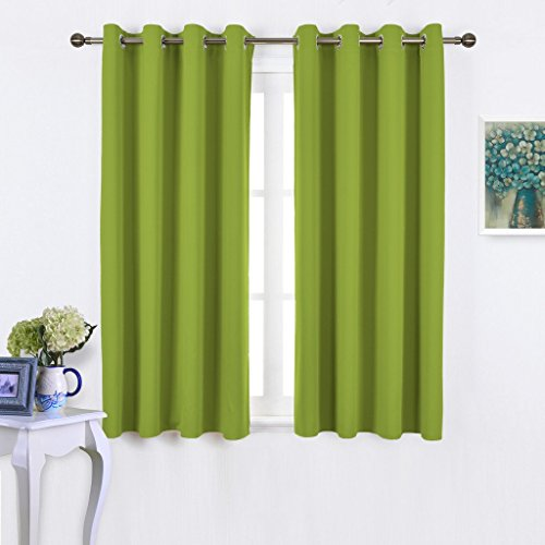 NICETOWN Spring / Summer Thermal Insulated Solid Grommet Top Blackout Curtains / Drapes for Kid's Room (1 Pair,52 x 63 Inch in Fresh Green) (Thermal Curtains For Boys compare prices)