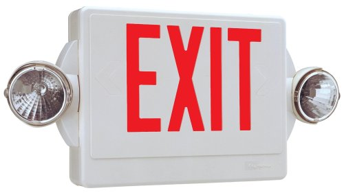 Lithonia Lighting Quantum Red Led Combo Exit/Emergency Light With Back-Up Battery, White #Lhqmsw1R 120/277