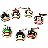 7 pcs Paul Frank Zipper Pull Charms for Jacket Backpack Bag Pendant