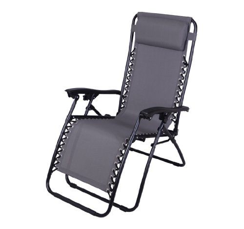 HOMCOM Gray Zero Gravity Chair Folding Recliner Patio Pool Lounge Chairs Outdoor Garden