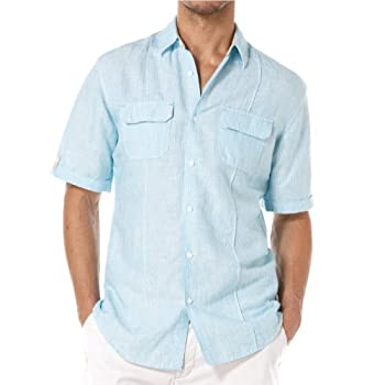 Slim Fit Linen/Cotton Yarndye Stripe shirt scuba blue by Cubavera.