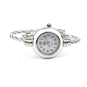 Mujeres Plata Clásico Retorcido Brazalete Banda Alrededor Muñeca Reloj Blanco de BestOfferBuy