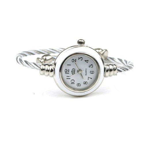 BestOfferBuy Womens Silver Classic Twisted Band Bracelet Round Wrist Watch White