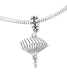 Sterling Silver Parachute Para Sailer Dangle Bead Charm