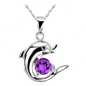 Fervent love purple crystal cute dolphin for Cute jewelry for girlfriend