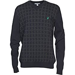 Lyle And Scott Club Mens Dog Tooth Jumper Black