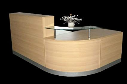 NEW HIGH QUALITY RECEPTION DESK IN OAK,CURVED GLASS UNIT , ALUMINIUM PLINTH
