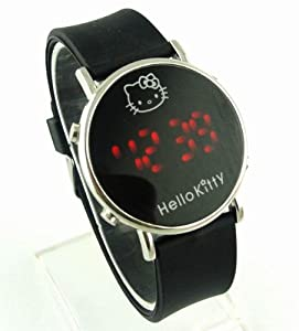 Ladies' Kitty Round-Faced LED Digital Watch-Black from SH