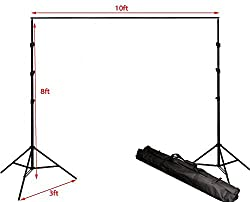 ePhotoInc 8.5ft x 10ft Photography Studio Backdrop Photo Video Support System 2 Background Stands 4 Adjustable Cross Bars Carrying Case Kit GG804