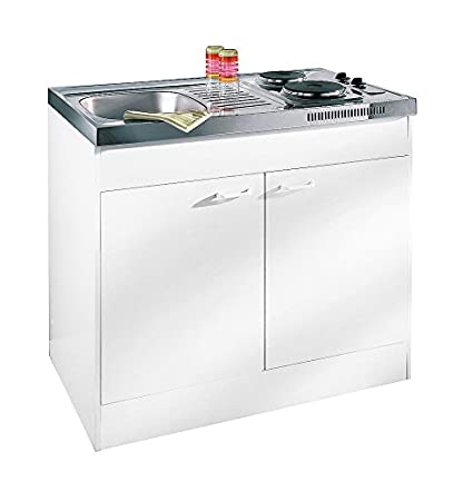 Respekta - Mueble con fregadero y doble cocina, color blanco