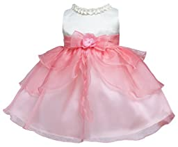 KID Collection Baby-Girls Ruffle Tiered Dress 12M Med Ivory Coral (Kid B802)