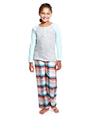 Pure Cotton Raglan Sleeve Checked Pyjamas
