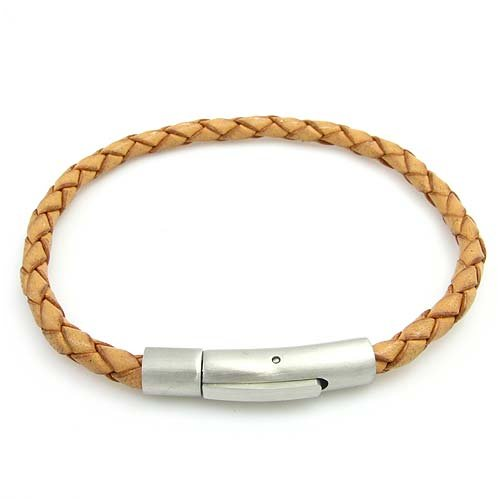 Tan Leather Bracelet With Stainless Steel Magnetic Clasp