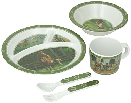 Wild Wings Children's 5-Piece Melamine Tableware Set Featuring Horses
