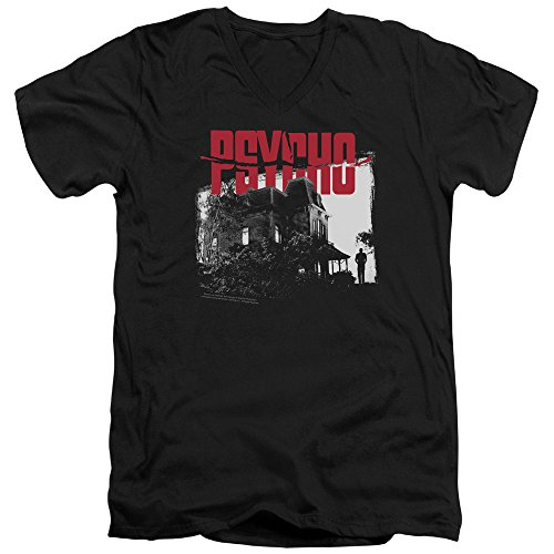 Psycho 1960 Horror Slasher Movie Hitchcock Bates House Adult V-Neck T-Shirt Tee (Bate Hotel compare prices)