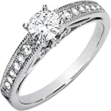 Gorgeous! Women's 14k White-gold Moissanite 5MM (1/2CT) & 1/6 CT TW Diamond Engagement Ring