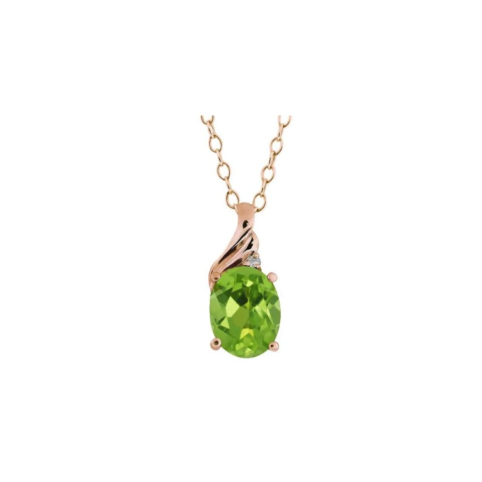 1.36 Ct Oval Green Peridot and Diamond Rose Gold Plated Sterling Silver Pendant