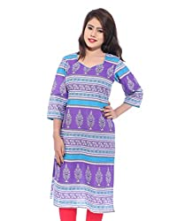 Lal Chhadi Women's 3/4 Sleeve Purple color Cotton Kurta