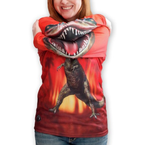 MouthMan® Unisex-Adult T-Rex Hoodie Shirt Red 2XL