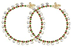 Charms Antique Colored Beads Golden Alloy Kundan Anklet For Women & Girls